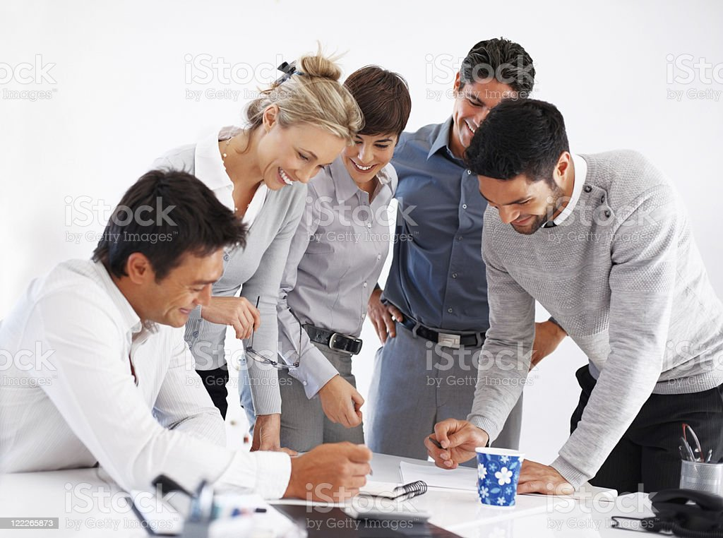 Happy business people working together royalty-free stock photo