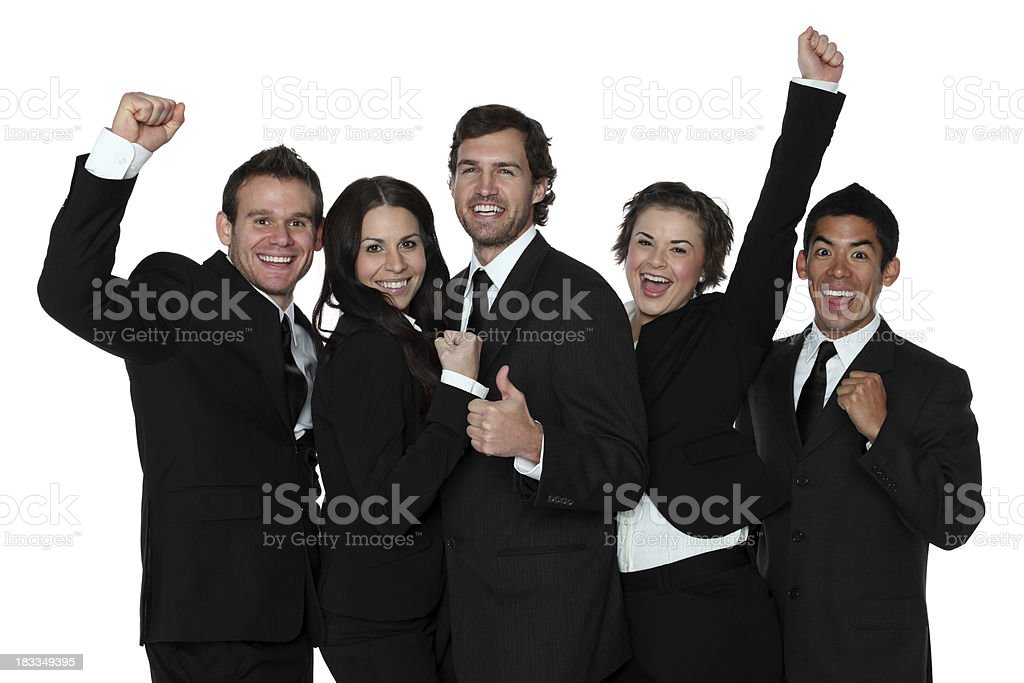 Happy business team cheering royalty-free stock photo