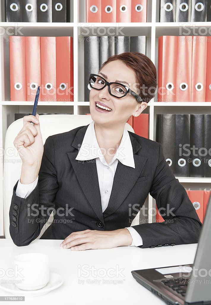 Happy business woman have the idea royalty-free stock photo