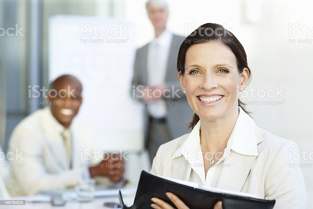 Happy business woman holding calendar royalty-free stock photo