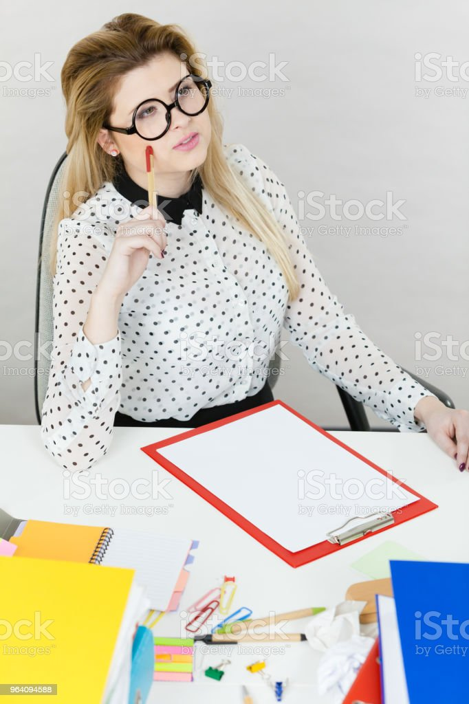 Happy business woman in office - Royalty-free Adult Stock Photo