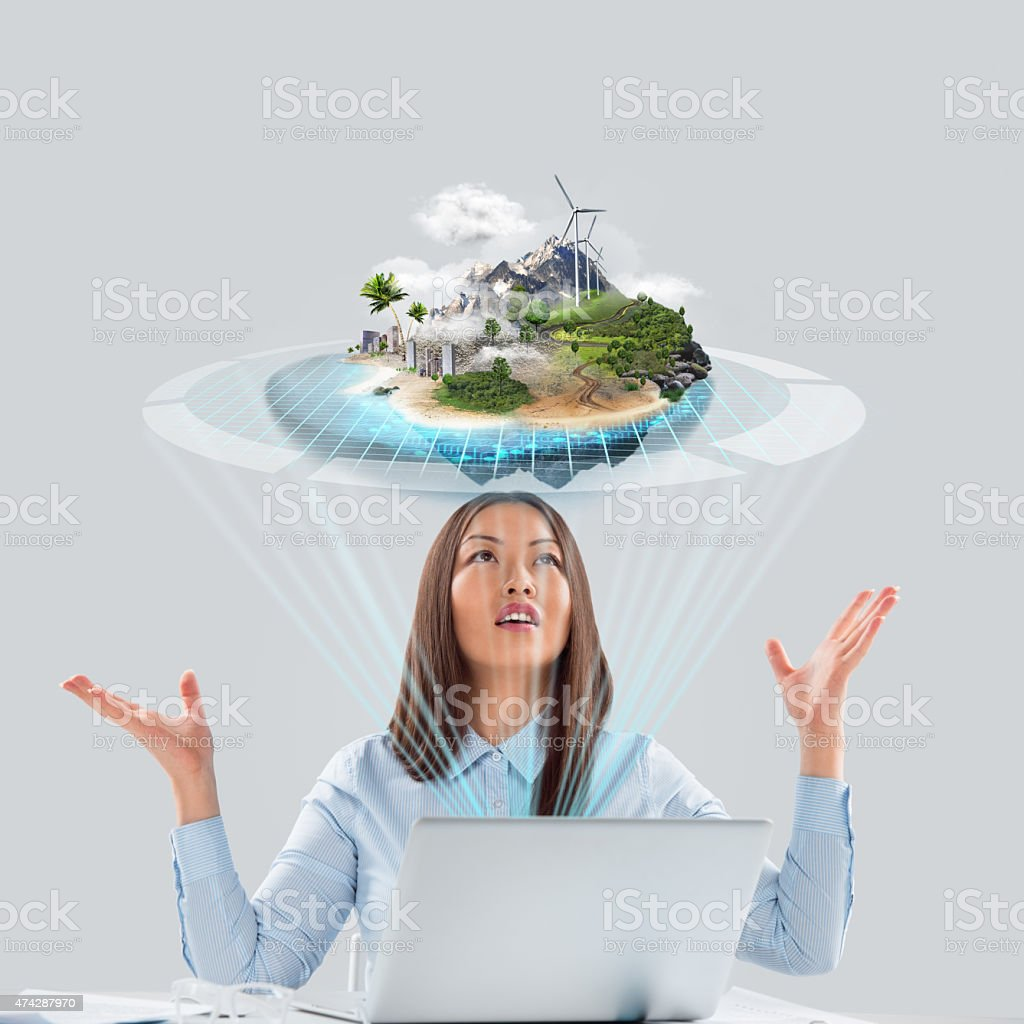 Happy business woman in the office celebrating success stock photo