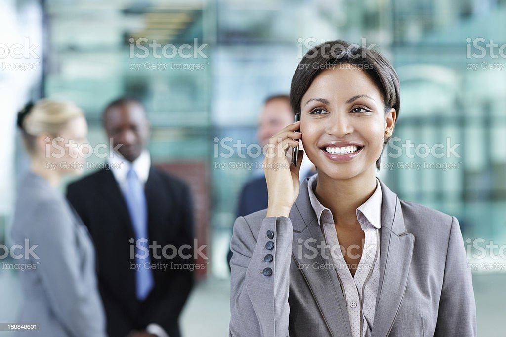 Happy business woman on call royalty-free stock photo