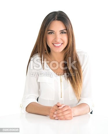 Portrait of a young business woman looking very happy - isolated over a white background
