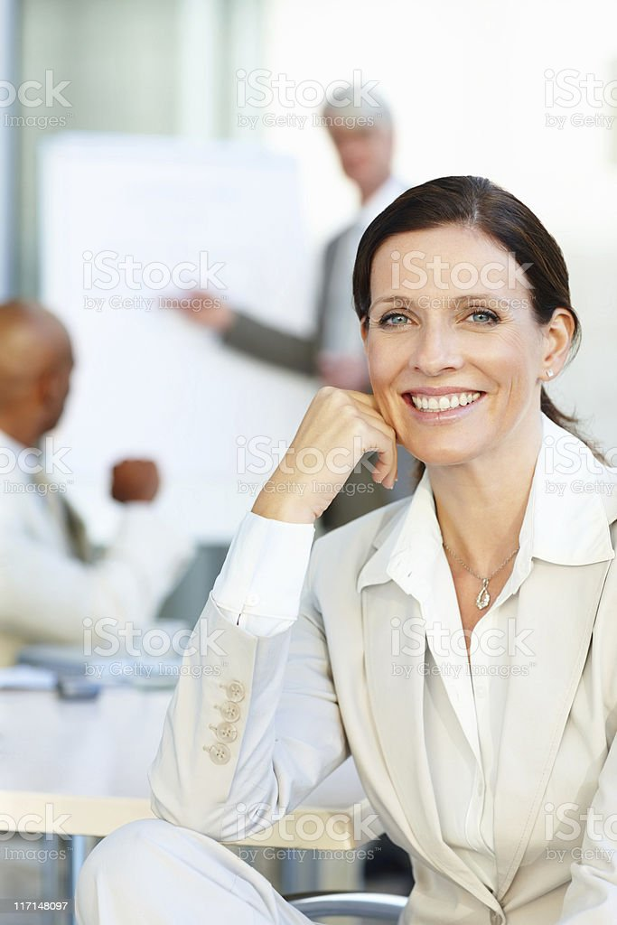 Happy business woman smiling royalty-free stock photo