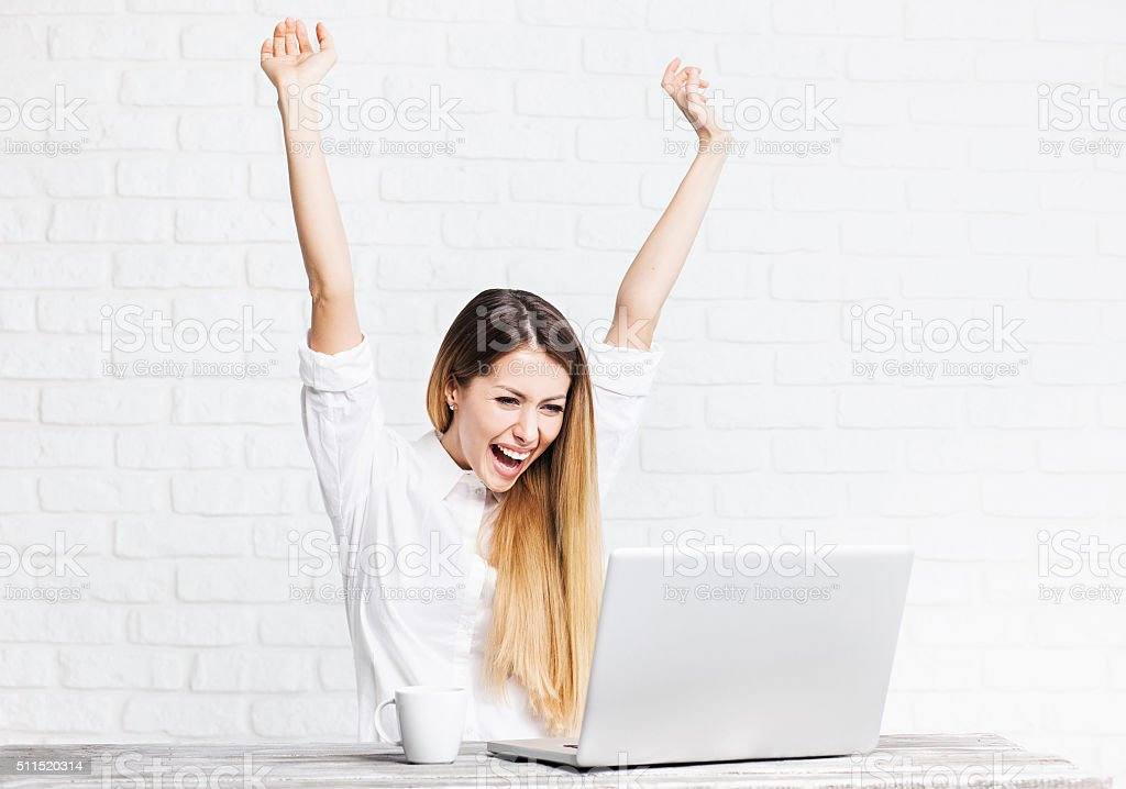 Happy business women stock photo