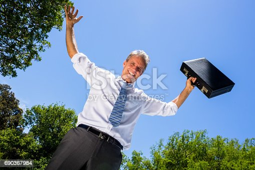 istock Happy businessman carrying briefcase against sky 690367984