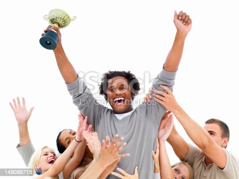 854381886 istock photo Happy businessman celebrating success with colleagues 149068715