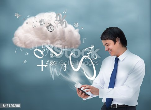 istock Happy businessman connecting to cloud computing 847129286