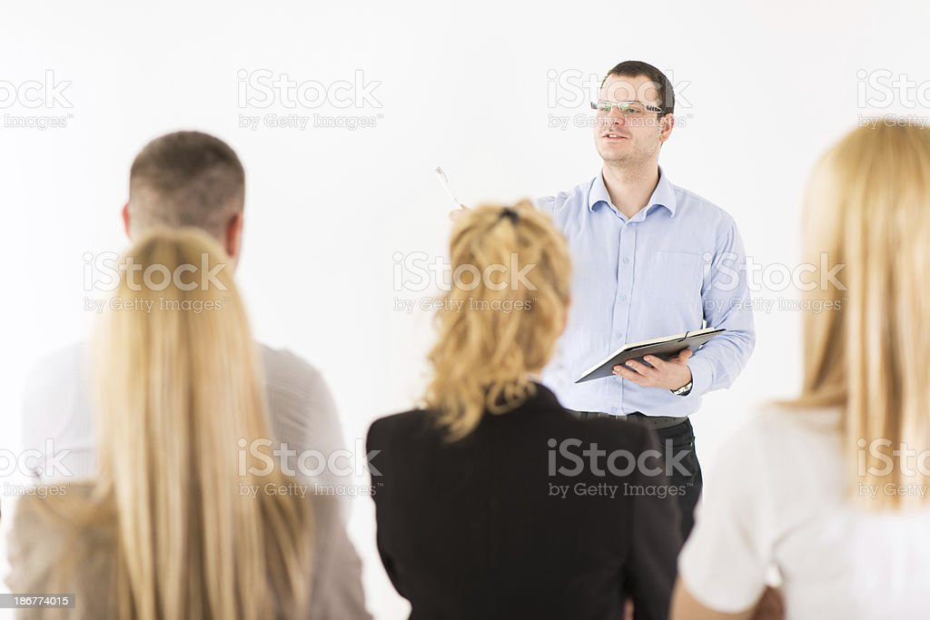 Happy Businessman Demonstrating his Project royalty-free stock photo