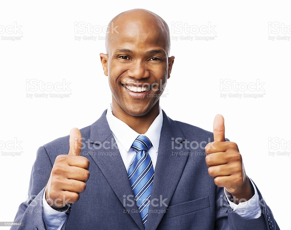 Happy Businessman Gesturing Thumbs Up - Isolated royalty-free stock photo