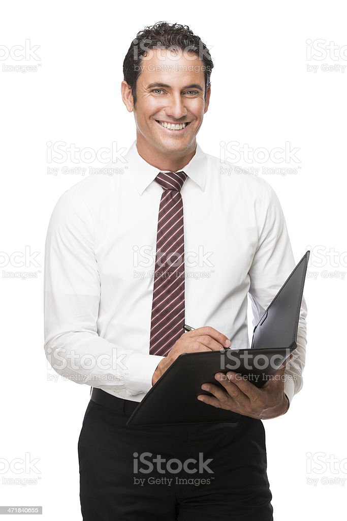 Happy businessman holding a document royalty-free stock photo