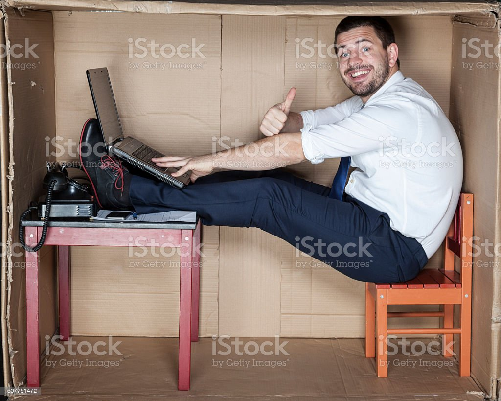 happy businessman in his office stock photo
