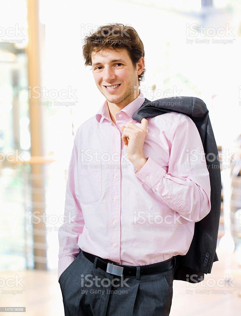 Happy businessman indoor royalty-free stock photo