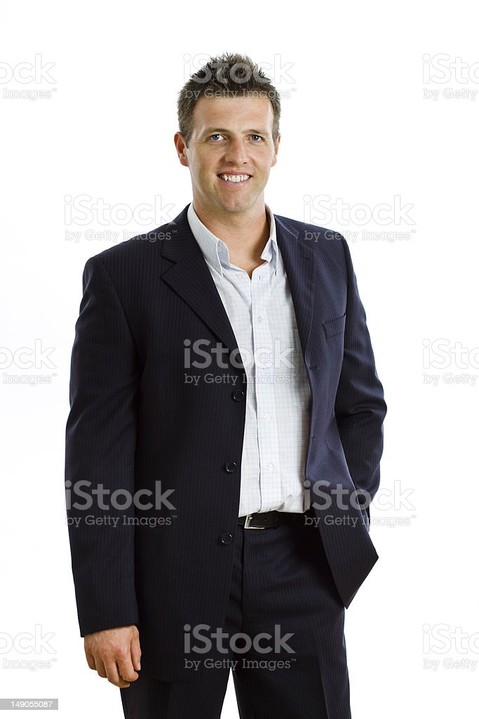 Happy businessman isolated stock photo