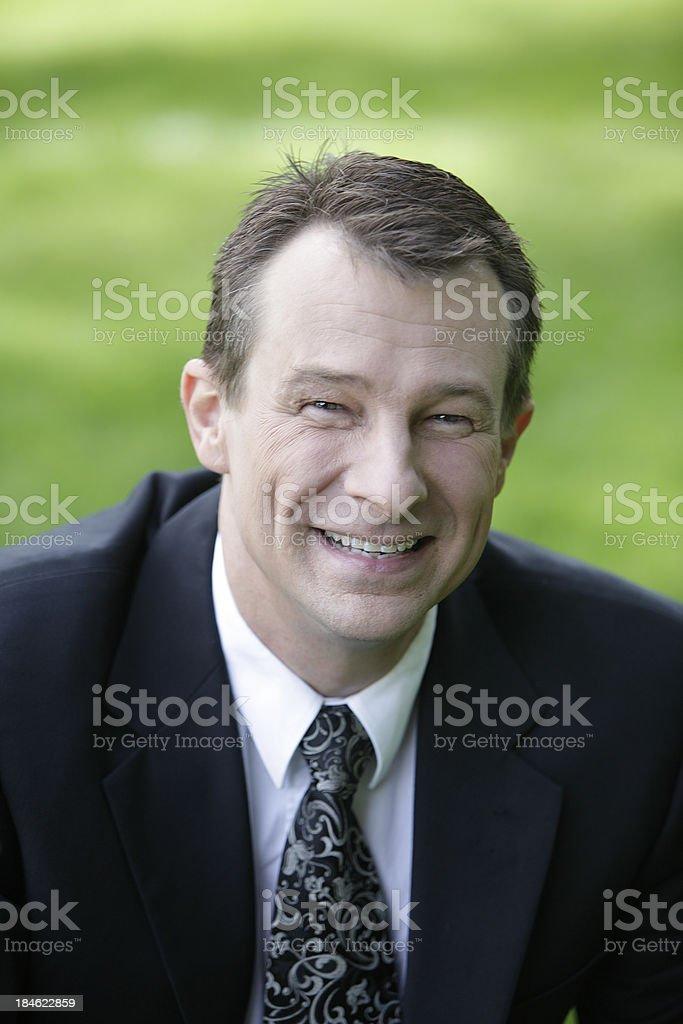 Happy Businessman Outdoors stock photo