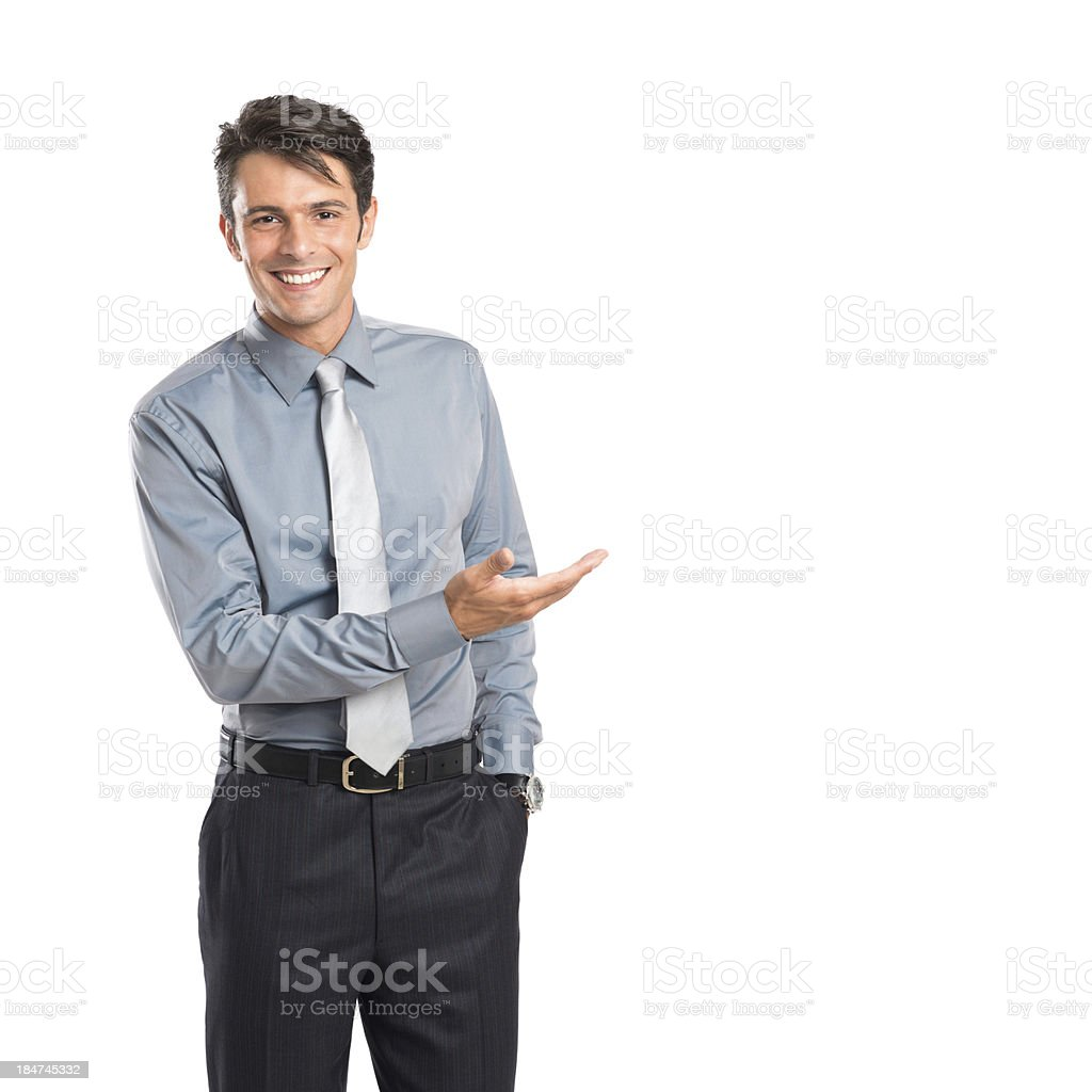 Happy Businessman Presenting stock photo