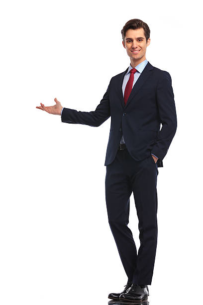 happy businessman presenting something ストックフォト