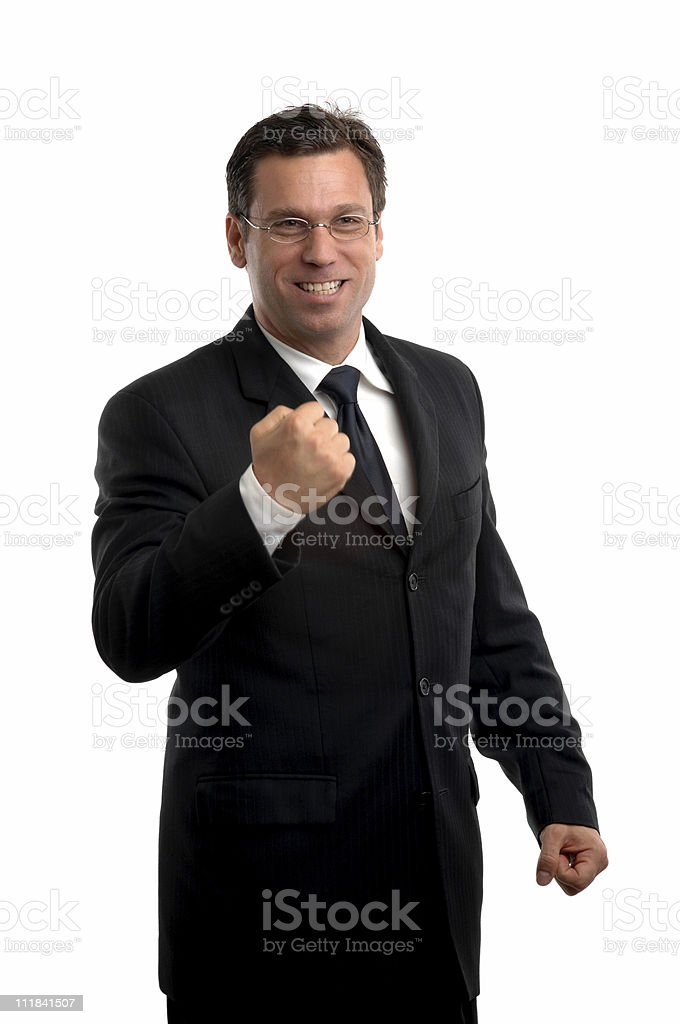 Happy Businessman Pumping Fist Isolated on White Background royalty-free stock photo