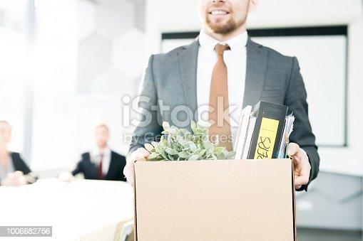 1181817161 istock photo Happy Businessman Quitting Job 1006682756