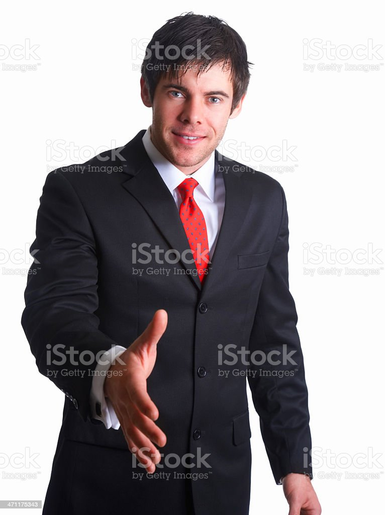 Happy businessman ready to seal a deal royalty-free stock photo