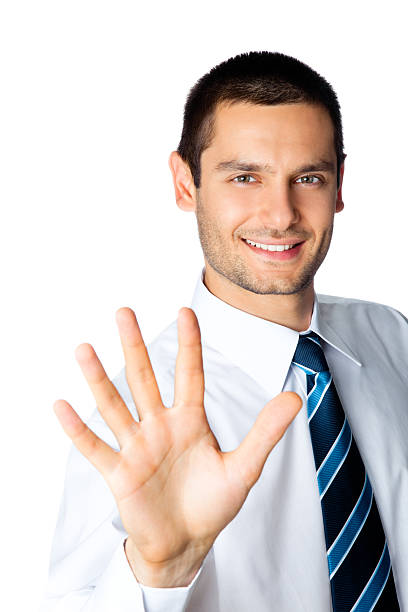 Happy businessman showing his hand isolated on white stock photo