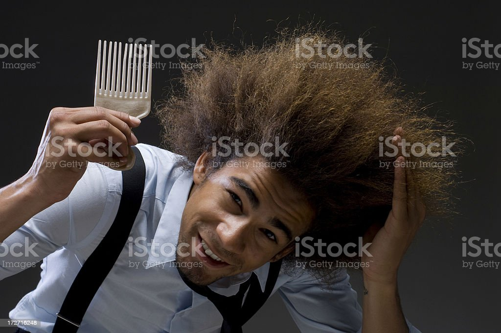 happy businessman with afro hair stock photo