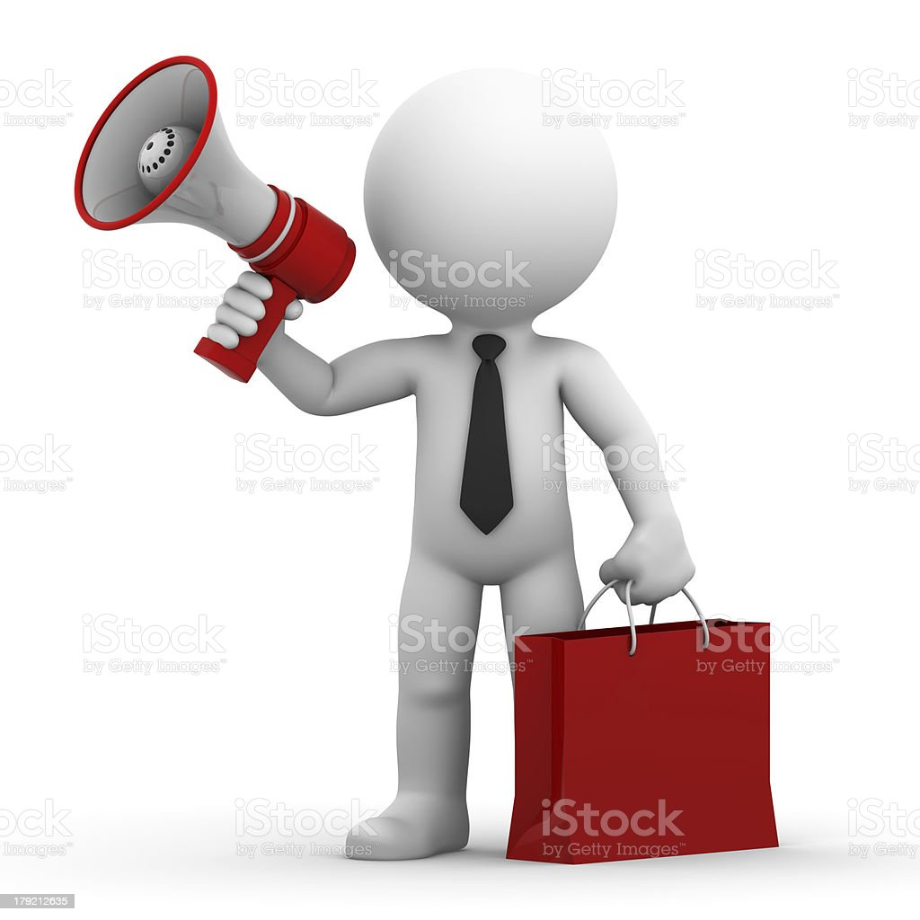 Happy businessman with megaphone and shopping bag royalty-free stock photo