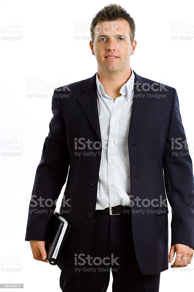 Happy businessman with notebook isolated stock photo