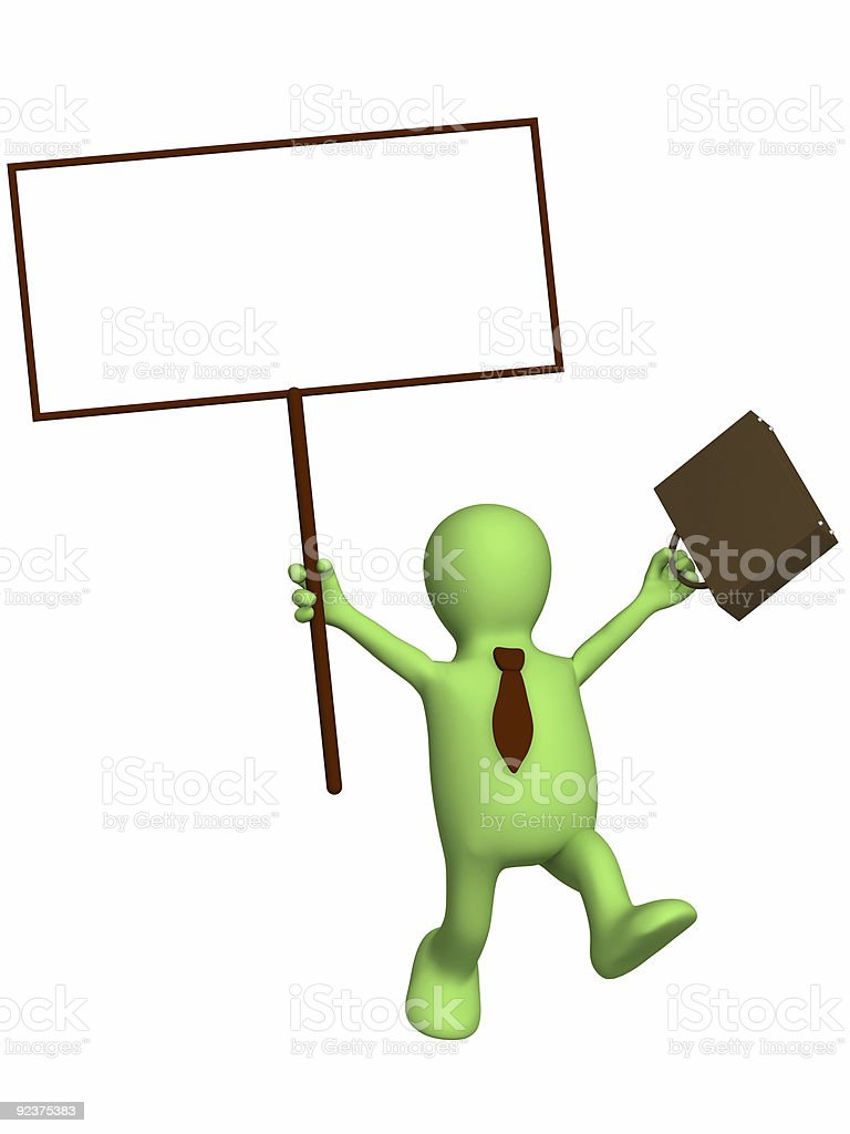 Happy businessman with the poster in a hand royalty-free stock photo