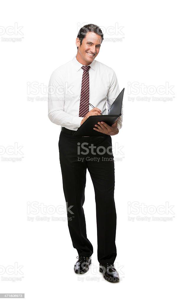 Happy businessman working royalty-free stock photo