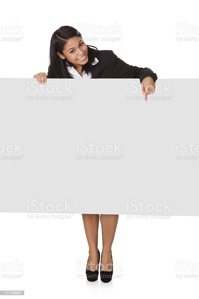 Happy Businesswoman Holding Placard royalty-free stock photo