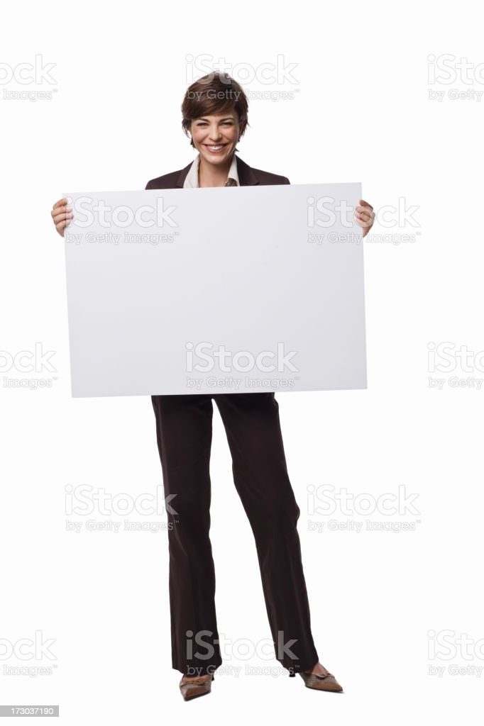 Happy businesswoman holding white blank card royalty-free stock photo