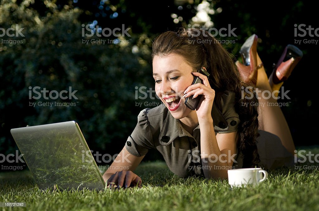 happy businesswoman in nature royalty-free stock photo