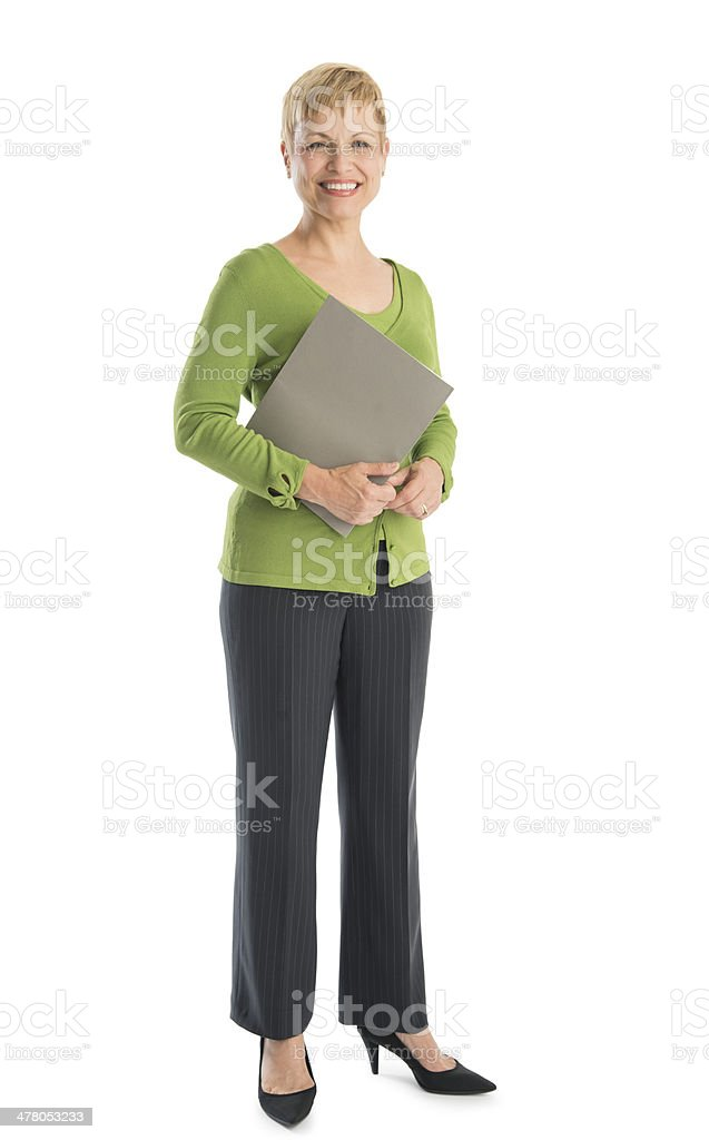Happy Businesswoman In Smart Casuals Holding File stock photo
