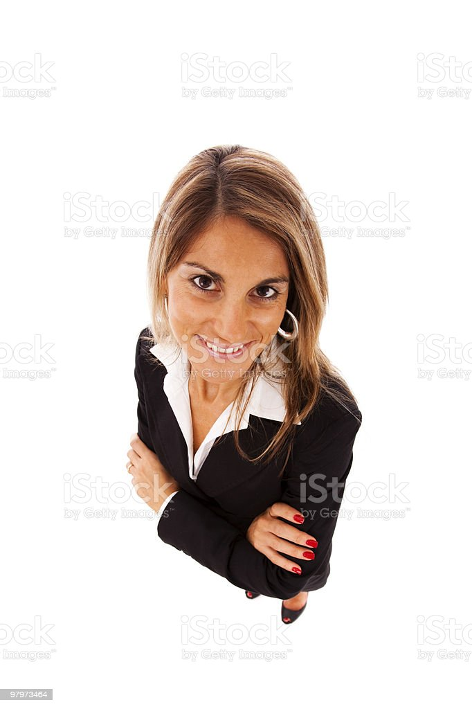 Happy businesswoman looking up royalty-free stock photo