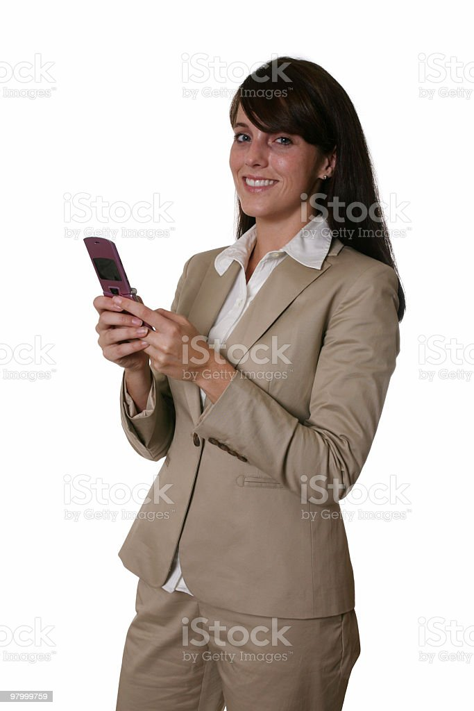Happy businesswoman on phone royalty-free stock photo