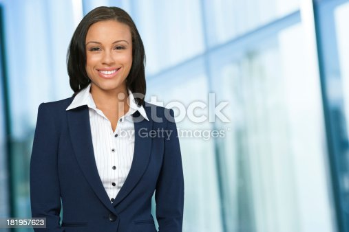 Young happy African American business woman.