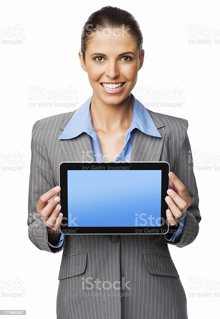 Happy Businesswoman Showing Digital Tablet - Isolated royalty-free stock photo