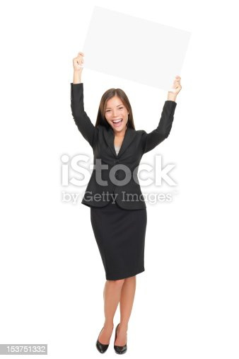 istock Happy businesswoman showing sign 153751332