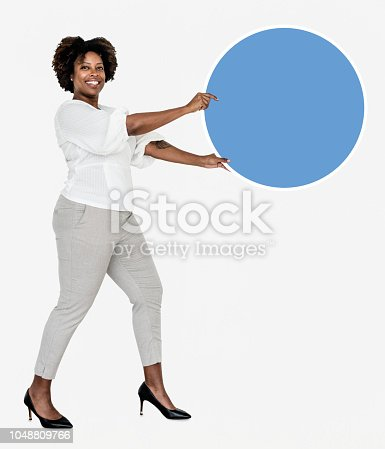 Happy businesswoman with a blue round board