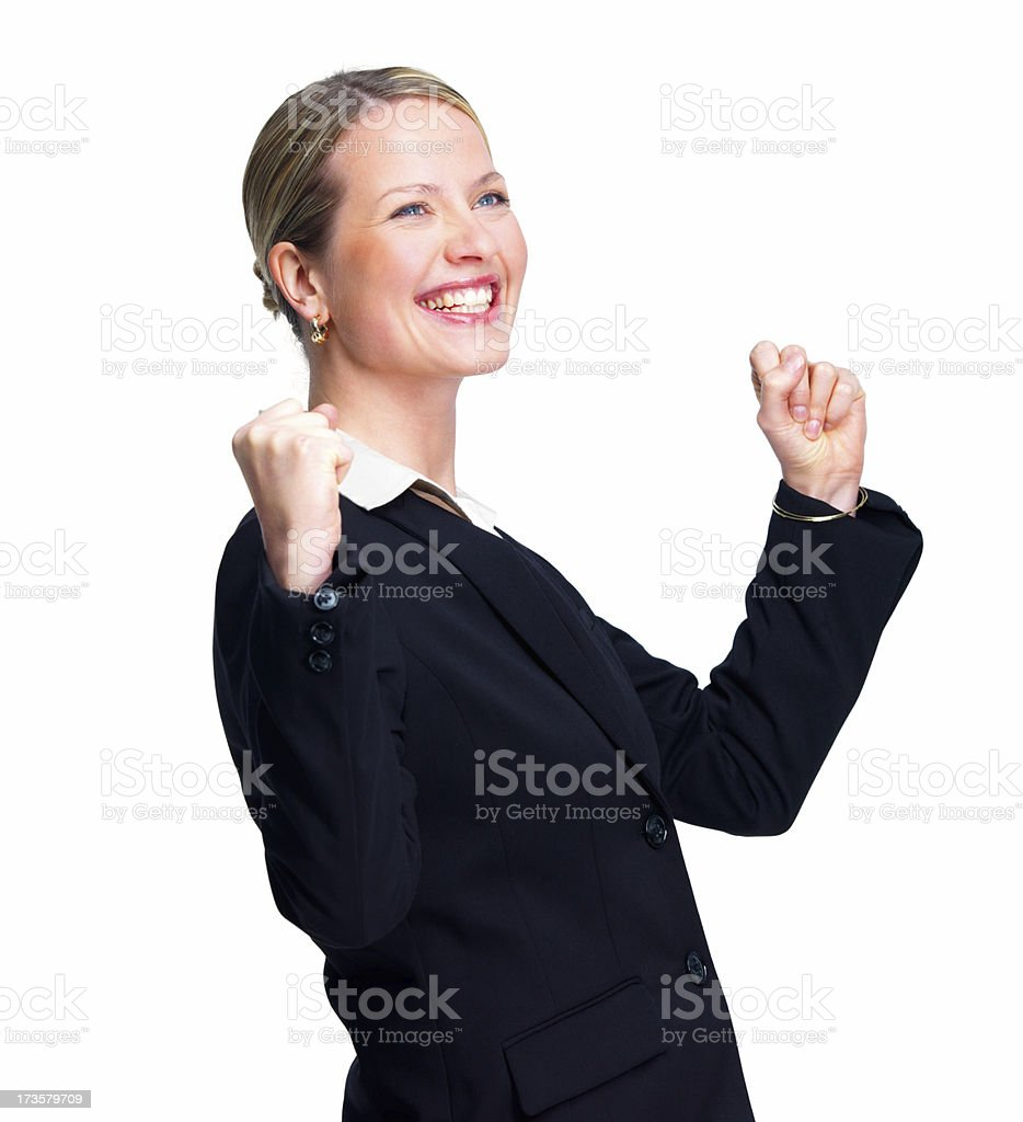 Happy businesswoman with clenched fist royalty-free stock photo