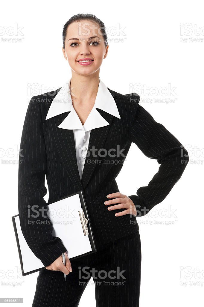 Happy businesswoman with clipboard, isolated on white royalty-free stock photo