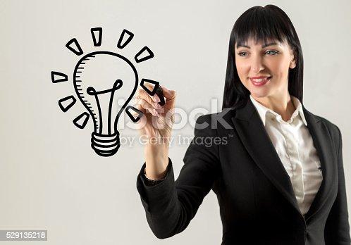 istock Happy businesswoman with idea 529135218