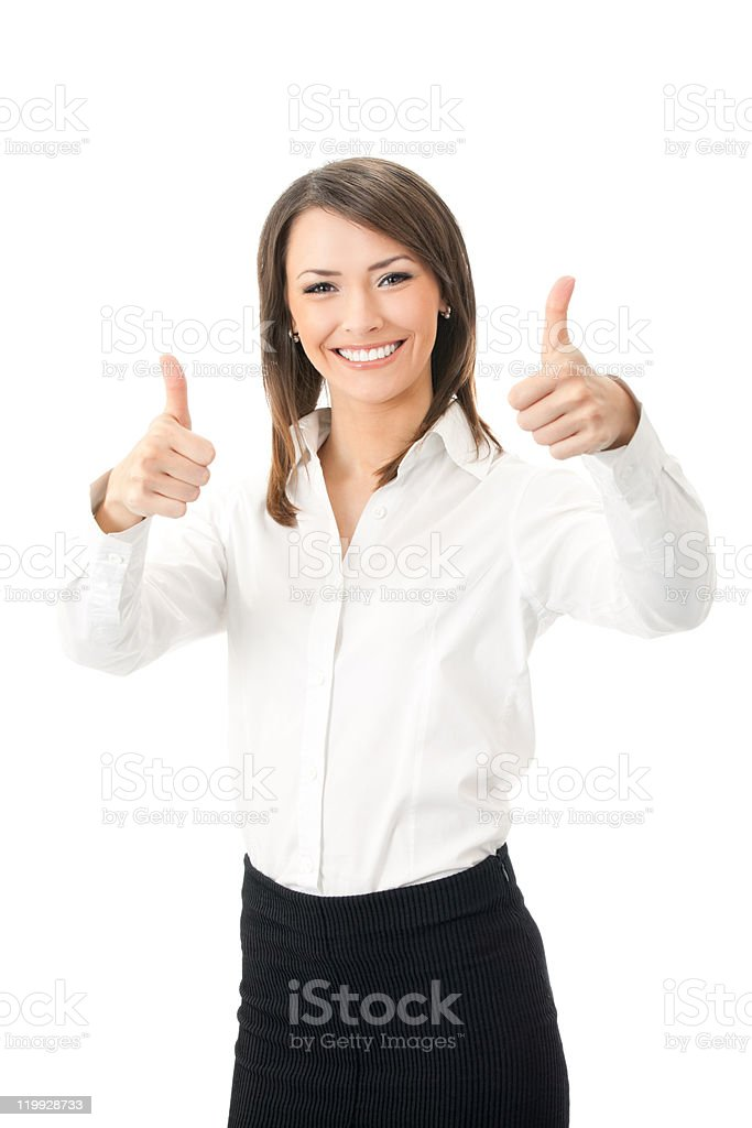 Happy businesswoman with thumbs up gesture, isolated on white background royalty-free stock photo