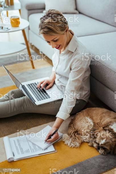 Happy businesswoman writing notes while working on a computer at home picture id1217740404?b=1&k=6&m=1217740404&s=612x612&h=0llio7qk9em ywk4s4jin mkkqphoqvv ed7apqbvhg=