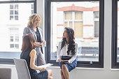 Happy businesswomen discussing by window in office