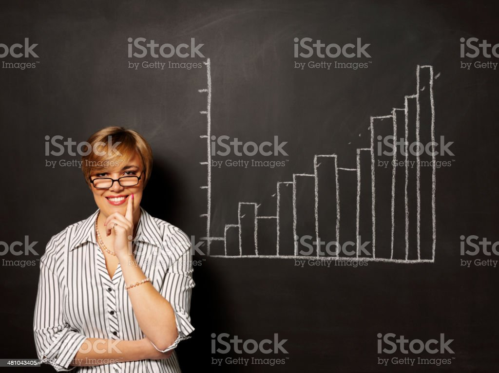 Happy Businesswomen with a Bar Chart on the Blackboard royalty-free stock photo