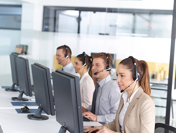 happy call center operators - call center stock photos and pictures