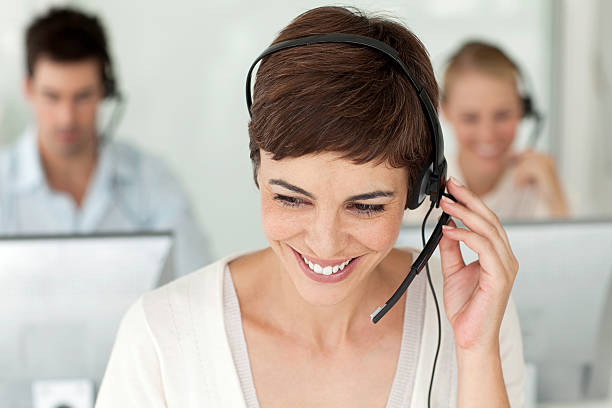 Happy Call Center Worker. stock photo